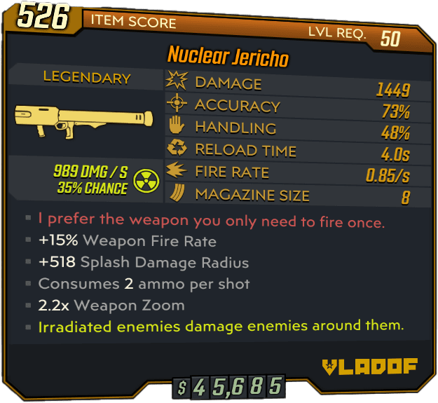 Jericho Legendary Rocket Launcher stats