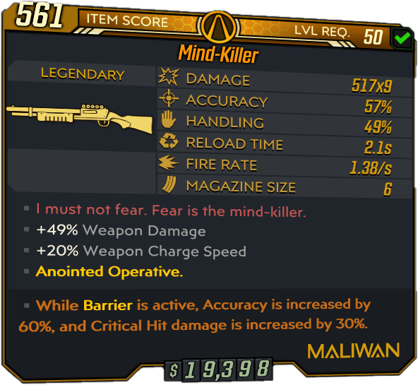 Mind-Killer Legendary Shotgun stats
